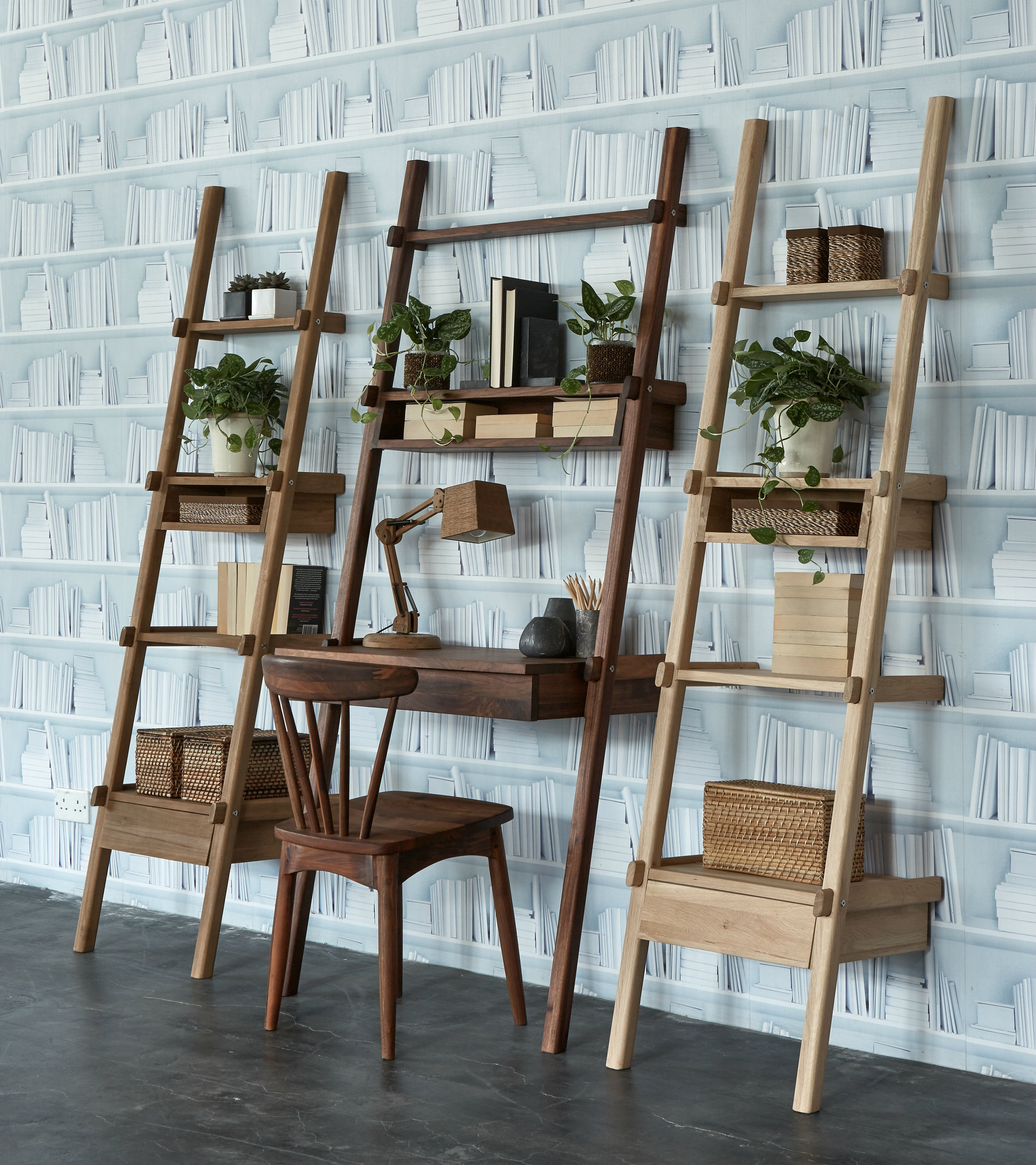 Simply City Ladder With Open Shelves 1 Drawer 1 Shelf Tree
